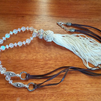 Recycled Glass Bead Tassel Necklace, Layering Necklace, Tassel Necklace, White Tassel Necklace, Long Necklace, Bohemian Jewelry,Boho Jewelry