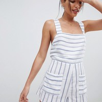 ASOS DESIGN Pocket Front Stripe Cotton Romper at asos.com