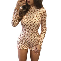 Sequin Jumpsuit 2017 Women Turtleneck Long Sleeve Plaid Bodycon Rompers Bodysuit Macacao Sexy Slim Gold Playsuit Overalls
