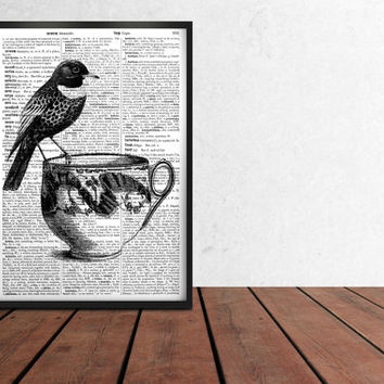 Dictionary art Bird poster Finch print Black and white decor