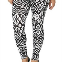 Plus Black and White Tribal Printed Legging