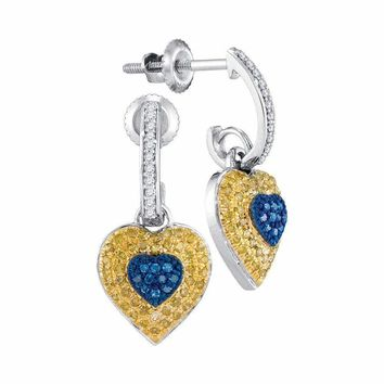 10kt White Gold Women's Round Blue Yellow Color Enhanced Diamond Heart Dangle Earrings 1-3 Cttw - FREE Shipping (USA/CAN)