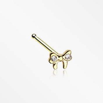 Golden Dainty Bow-Tie Sparkle Nose Stud Ring