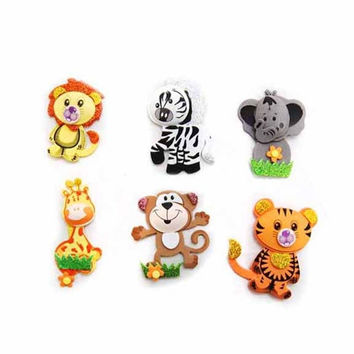 Baby Shower Foam Decoration, 6 Pairs, Assorted Safari Animals - Small