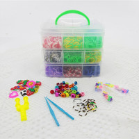2015 New Arrival outdoor 3 layers PVC Box Family Loom Kit Set Loom rubber bands box set for DIY bracelets 800pcs/ 2000pcs/3200pcs