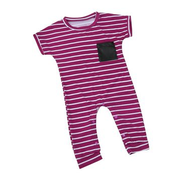Summer Newborn Infant Kids Baby Boy Girl Striped Cotton Romper Jumpsuit Clothes Outfits