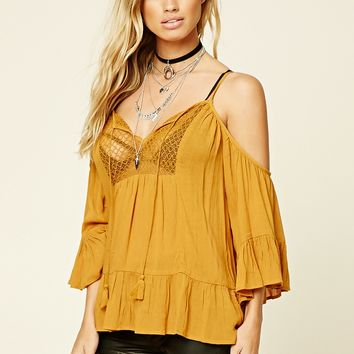 Lace-Front Open-Shoulder Top