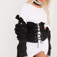 Addison Black Denim Lace Up Corset Belt