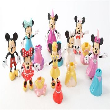 new 1set/lot 7cm pvc minnie mickey pluto duck goofy mouse Change doll decorations Christmas gift Boy toys play house