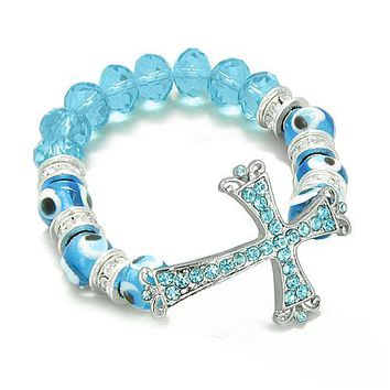Amulet Evil Eye Protection Unique Cross Charm Spiritual Bracelet Swarovski Elements Beads