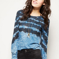 Tie-Dye Stripe Crop Long-Sleeve