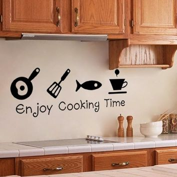 kitchen enjoy cooking time restaurant kitchen decoration home decor decal wall sticker food shop wall art