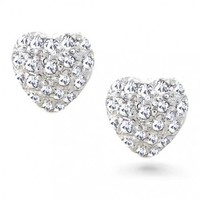 Bling Jewelry Love Me Heart Studs