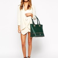 New Look Lola Shopper Bag In Dark Green