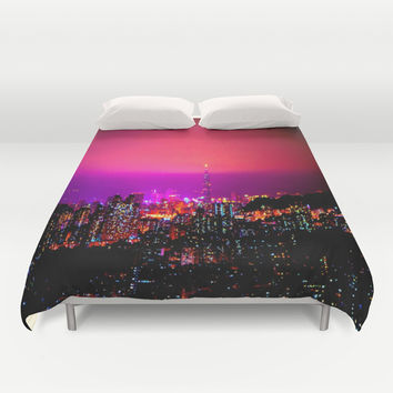 City Skyline Duvet Cover by 2sweet4words Designs