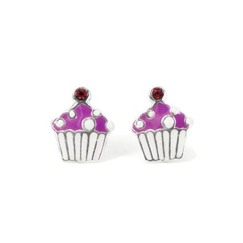 Sterling Silver Children's Cupcake with CZ Cherry on Top Earrings