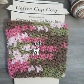 Camo Pink Reusable Coffee or Tea To Go Cup Mug Cozy Sleeve Koozie w/ Deer Charm