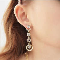 2 pairs/set Fashion Korean European Multilayer gold and silver Circles Gem Cystal Drop Earrings Jewelry for women = 1669286404