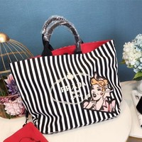 Prada Stripe Canvas Tote Bag