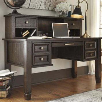 H636-48 Townser Home Office Desk Hutch - Grayish Brown - Free Shipping!