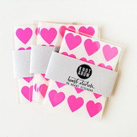 heart stickers, neon pink