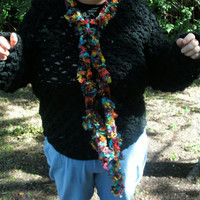 Handmade crocheted ribbon yarn scarf by CanadianCraftCritter