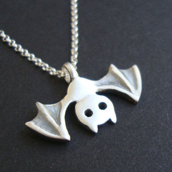 Bat Necklace Halloween Necklace in sterling silver by zoozjewelry