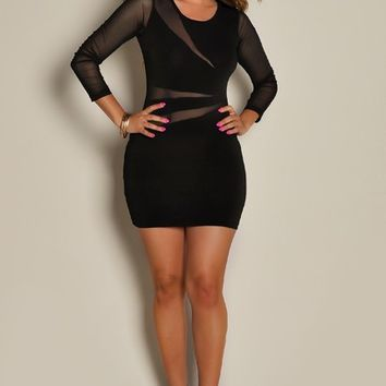 Cherise Black See Through Mesh Long Sleeve Mini Dress