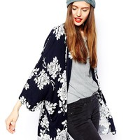ASOS Kimono in Navy and White Florals