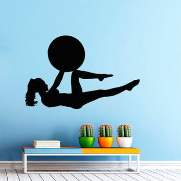 Woman with a Ball Fitness Exersice Gym Sport People Decal Vinyl Sticker Decor Home Interior Design Art Murals M759