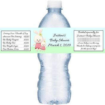 21 Bunny Baby Shower Water Bottle Labels