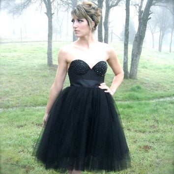 Black Tulle Tutu Skirt with Black Satin Ribbon by darkponydesigns