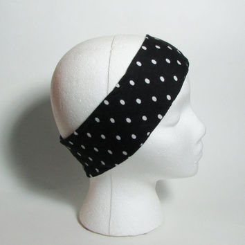 Black & White Polka Dots Headband, Yoga Stretch Hair Band, Hippie Womens Hair Accessories, Camping Hair Band, Jogging Womens Hair Wrap