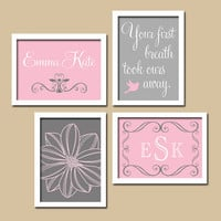 Personalized Custom Monogram First Breath Quote Child Name Gray Pink Flower Print Artwork Set of 4 Prints Girl Wall Decor Art Nursery Crib