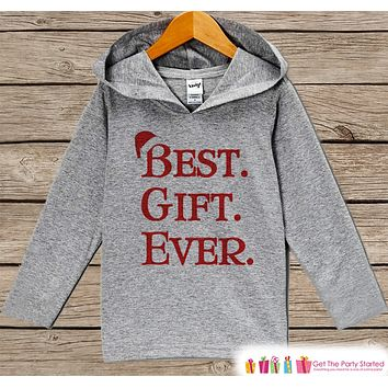 Best Gift Ever - Kids Hoodie Pullover - Grey Christmas Sweater - Christmas Pregnancy Announcement - Santa Hat Holiday Outfit for Baby, Toddler, Youth