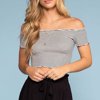 Beginnings Stripe Off The Shoulder Crop Top - White