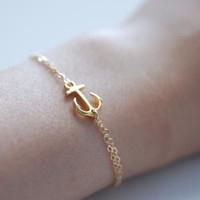 Anchor Bracelet, Delta Gamma Jewelry,DG Bracelet,Sideways Anchor Bracelet,Delta Gamma Sorority,Simple Everyday Jewelry by HeirloomEnvy