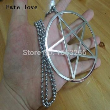 Fate Love So Fashion Large 4'' Silver Pentagram Pentacle in Circle Stainless Steel Necklace with 32'' Chain UNISEX Wiccan Pagan