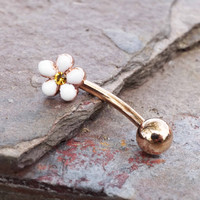 Daisy Rose Gold Daith Piercing Rook Earring Eyebrow Ring