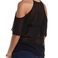 Cold Shoulder Chiffon Swing Top by Charlotte Russe