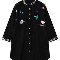 Black Cartoon Embroidered Blouse