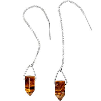 Handcrafted Tiger Eye  925 Sterling Silver Infinity Threader Earrings