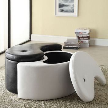 A.M.B. Furniture & Design :: Living room furniture :: Ottomans & Footstools :: Black and white leather like vinyl Yin and Yang storage ottoman footstools