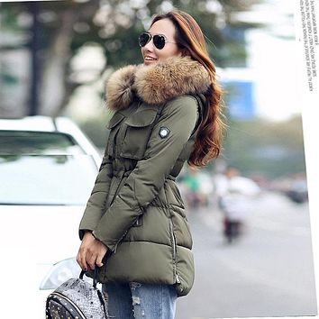 YEYELANA High Quality Large Real Fur 2017 Winter Jacket Women Genuine Raccoon Fur Collar Hooded Thick Coat Women Winter Parka