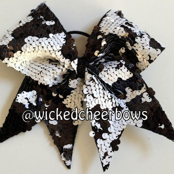 Cheer Bow - Black & White Reversible Sequins