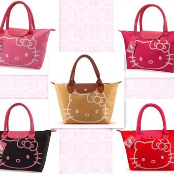 Cute Cartoon Hello Kitty Women Waterproof Bag Mummy Shoulder Bags Ladies Handbag Reusable Lunch Supermarket Eco Shopping Bag