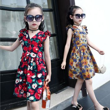 2017 Baby Girls Summer Dress Kid Print flower Costume Party Dress for Girl Fashion Cotton Children Clothes 5 6 8 10 12 years old