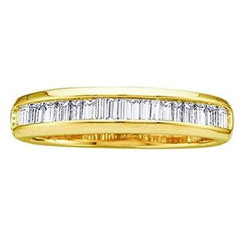 CERTIFIED 0.23 Carat 10K Yellow Gold Baguette Diamond Ladies Stackable Ring 1/4 CT