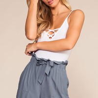 Caspien Paperbag High Waisted Shorts - Blue