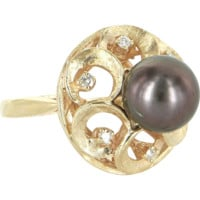 Vintage Black Tahitian Pearl Diamond Cocktail Ring 14 Karat Gold Estate Fine Jewelry